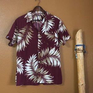 Van Heusen Maroon/ Tan Hawaiian Button Down